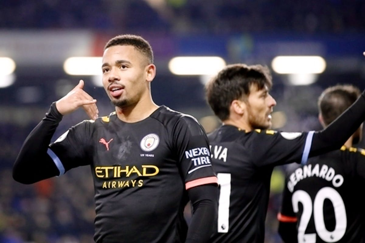 Gabriel Jesus aims for a goal a game with Manchester City